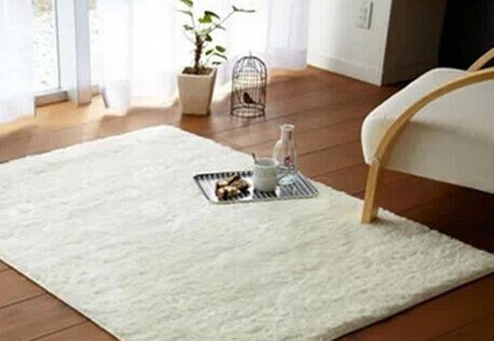 White Fluffy Living Room Rug Modern House