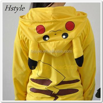 Pokemon Pikachu Sweatshirts Long Sleeve With Zipper Hat Cosplay Pikachu Costume Men Women Hoodies Anime Cartoon & Pokemon Pikachu Sweatshirts Long Sleeve With Zipper Hat Cosplay ...