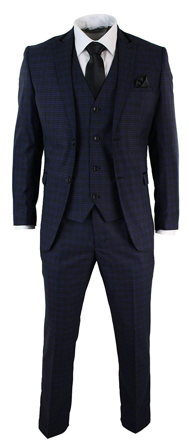 Marc Darcy Mens 3 Piece Tailored Fit Check Black Suit Vintage Retro Smart Formal Blue Plum