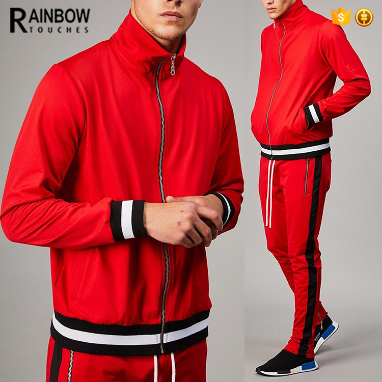 custom men slim fitted polyester plain tracksuit