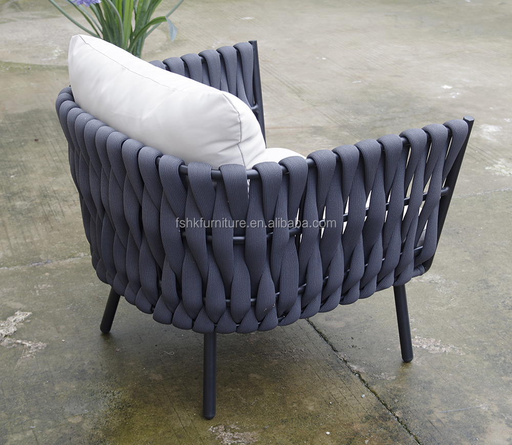 Hangkai rattan wicker sofa  rope outdoor furniture waterproof pool furniture  outdoor patio chair plastic rope garden sofa