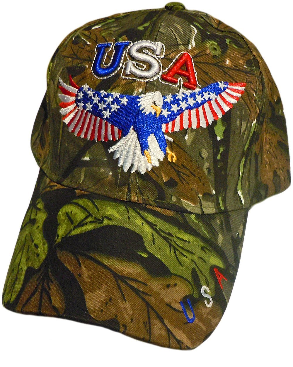 b08c5055a33 Patriotic Bald Eagle With American Flag Stars and Stripe Wings Baseball Cap  Hat (One