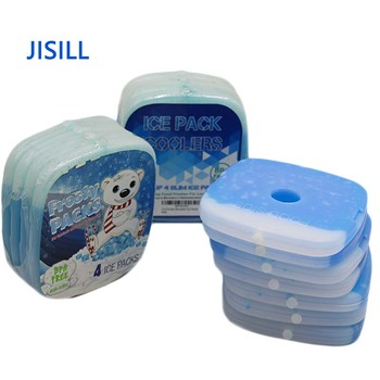 Food grade PE hard plastic 12.2*12.2*1.2 cm cool cooler reusable slim gel ice pack box for lunch