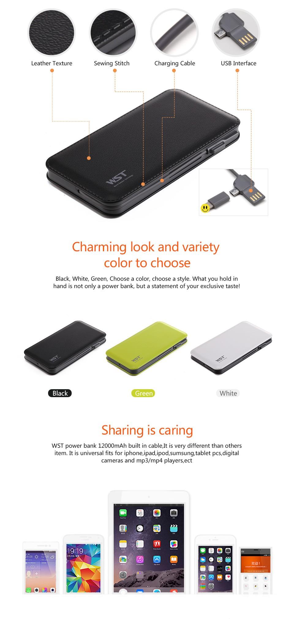 wst dp913 12000mah portable power bank smart promotional power bank
