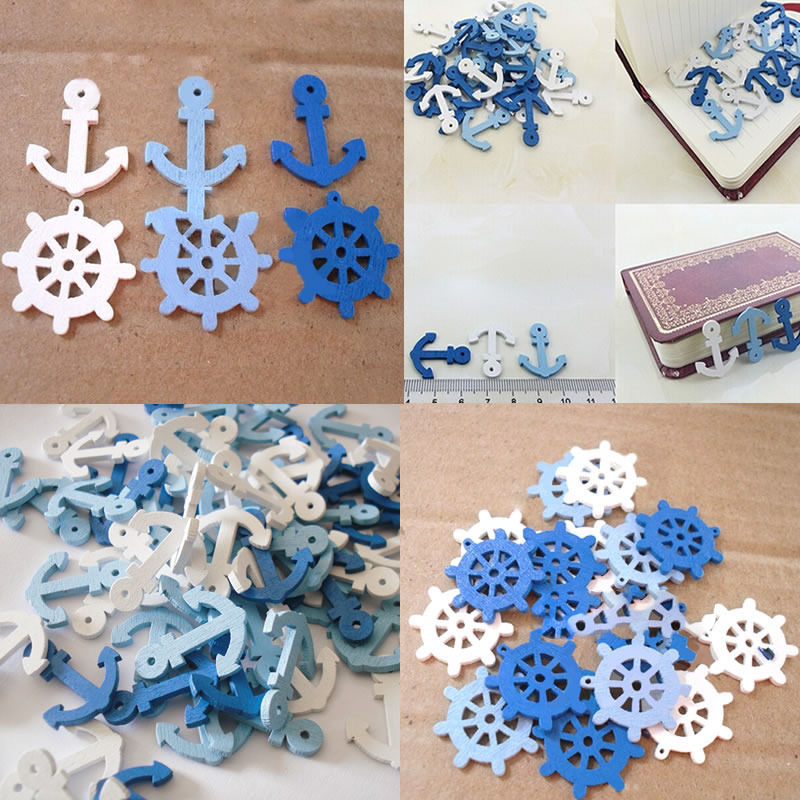 2015 Rushed Crafts Wooden For Decorations 50x/100x Wooden Sea Anchor Wheel <font><b>Nautical</b></font> Craft Scrapbooking Embellishment <font><b>Decor</b></font> K3100