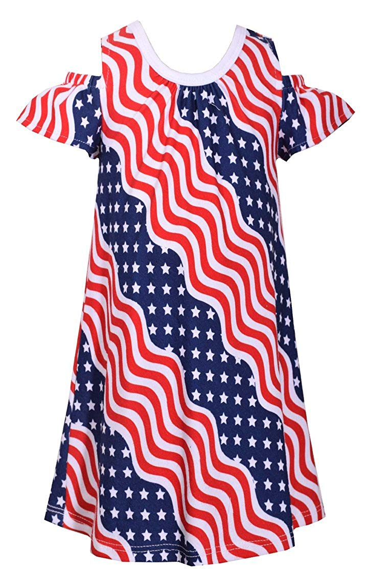 5b91cc54e957 Get Quotations · Bonnie Jean Patriotic Wavy Cold Shoulder Dress