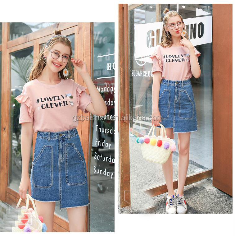 Fancy skirt top designs Fashion Summer Good Quality Skirt Blue New A line Denim Jean Skirts for Girls