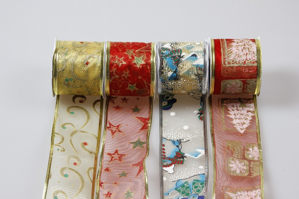 Wholesale 2017 new product good quality Wired Edge Decorative Christmas Ribbon