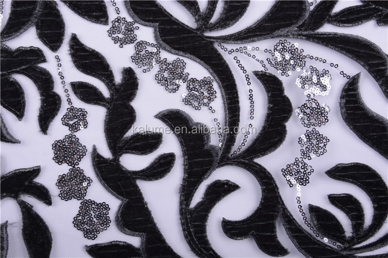 Shining Sequins Embroidered African Velvet Lace Fabric In Royal Blue High Quality French Velvet Lace For Party Dress  1176