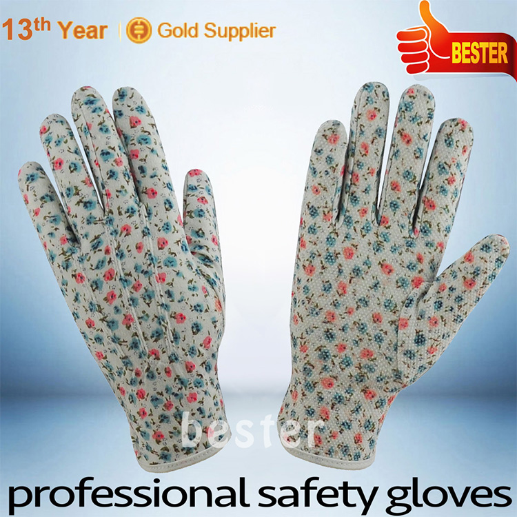 Newly competitive polyester pvc dotted cotton glove