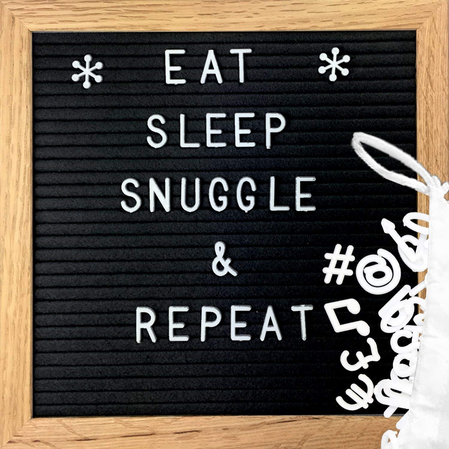 "Clearance Sale!!!! Changeable Felt Letter Board - Black Felt Message Board with 362 Letters, Numbers, Symbols & Emojis | Premium Oak Wood Frame - Display Words, Quotes, Announcements - 10"" x 10"""