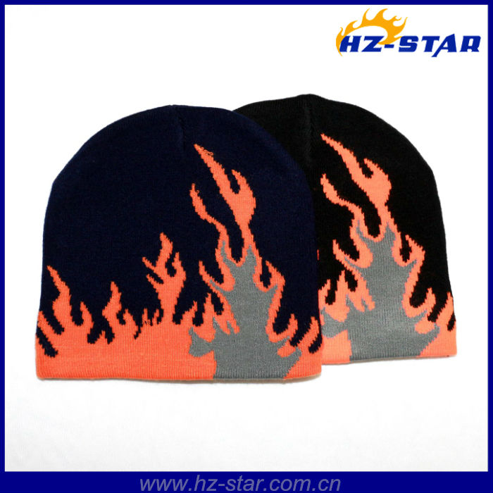 HZM-13515 2014-2015 popular fire shape soft feeling beanie jacquard sport flap caps