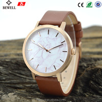 2017 mens quartz watch stainless steel japan movt with genuine leather strap