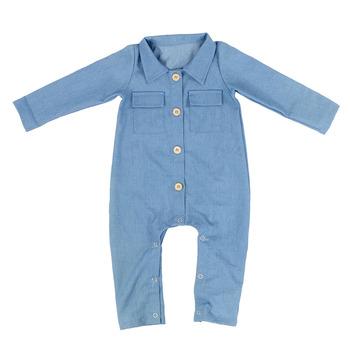 Wholesale Newborn Baby Clothes Button Boy Clothing Boutique Denim