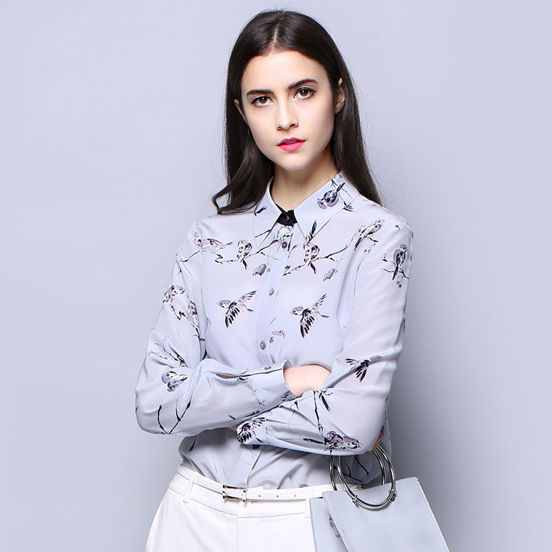 2017 autumn long sleeve silk blouse women high quality floral printing silk shirts