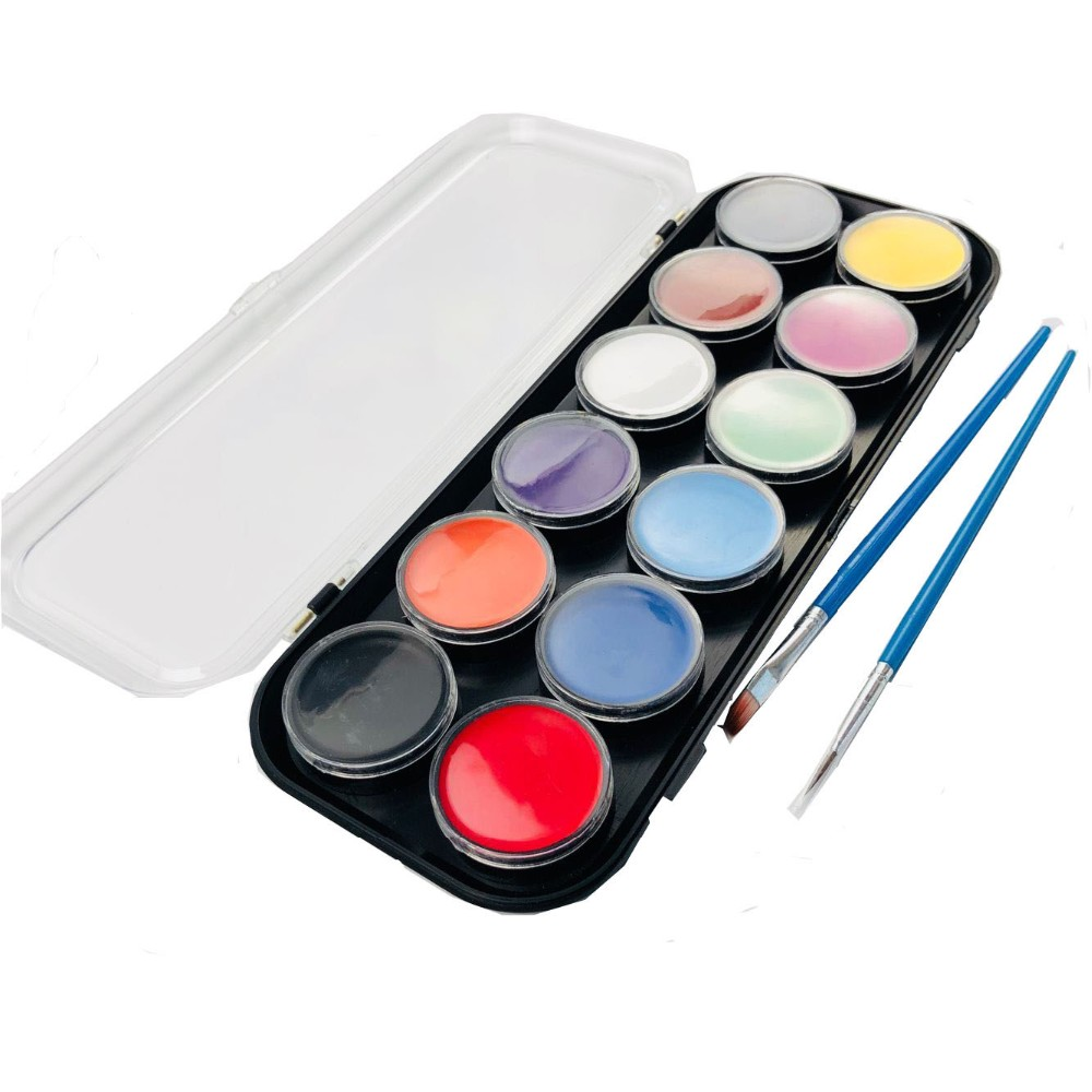 Face Painting Best Sell On Amazon Safe Face Paint Kit For Kids 12 Color Professional Palette With Glitter Buy Face Paint Palette With Glitter Face