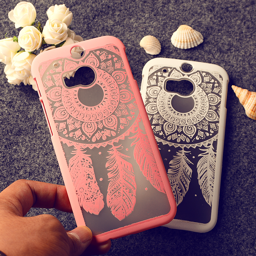 Rubberized Painted Phone Cases For HTC One 2 One M8 M8s M8x Covers Plumage Anti Scratch