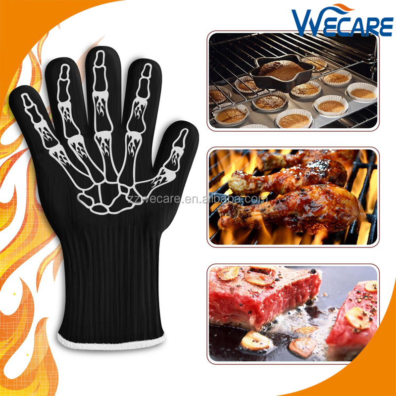 "932F Extreme Heat Resistant 14"" Long Forearm Protection BBQ Grilling Cooking Gloves Silicon Oven Gloves"