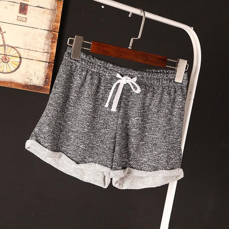 2015 Womens Summer Casual Loose Shorts Drawstring Wide Leg Short Cotton Terry Sports Shorts Feminino Running