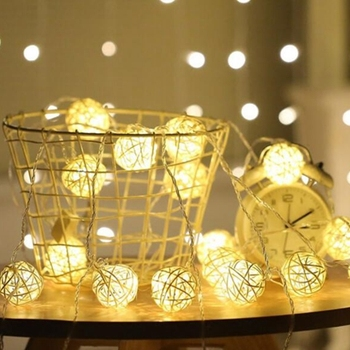 hot sale Patio Cafe bedroom party wedding  decoration handmade rattan ball led light