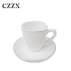 Cheap plain white color porcelain coffee and tea cups mugs and saucers dishes set for hotel and restaurant