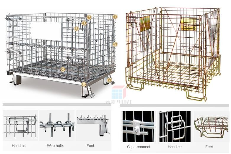 long folding crate steel metal wire box warehouse cage pallet box
