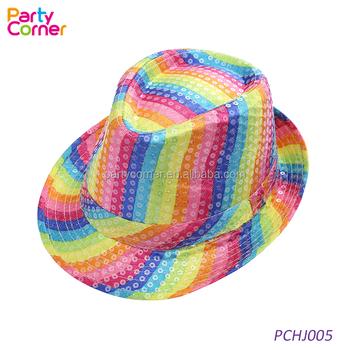 7548fcb31 Rainbow Fedora Hat Multi Colour Sequin Fun Party Fancy Dress - Buy Rainbow  Sequin Fedora Hat,Rainbow Hat,Sequin Fedora Hat Product on Alibaba.com