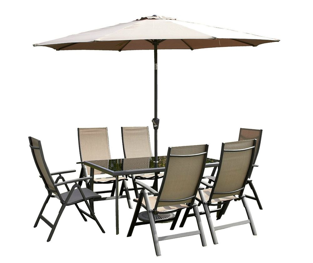 8 piece Outdoor Restaurant Patio Umbrella set includes 1 table, 4 chairs and 1 patio umbrella