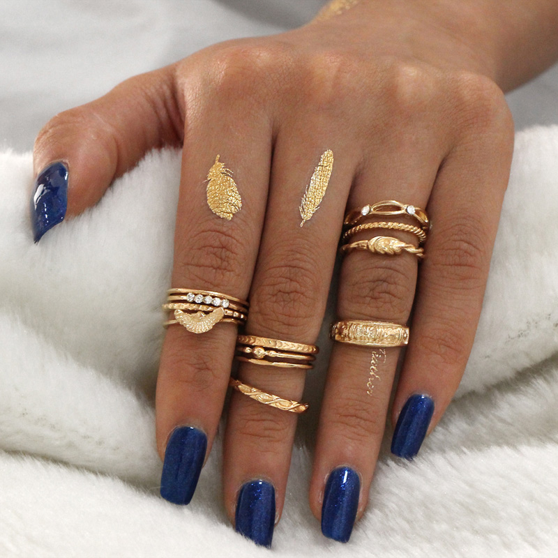 Bohe Vintage Punk Antique Carved Midi Finger Rings For Women Bohemian Knuckle Ring 12pcs/Set фото