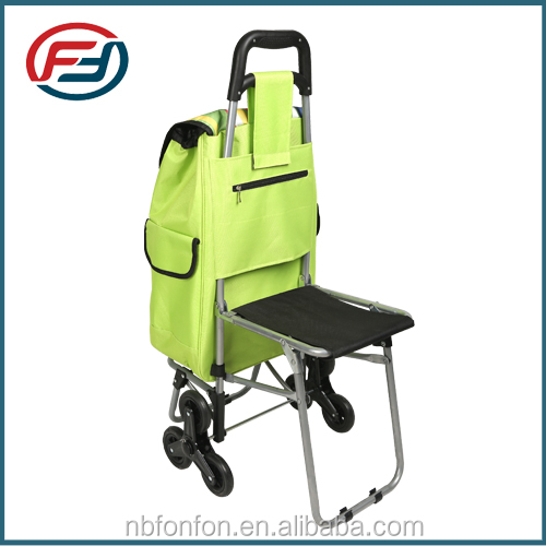 2016 popular foldable trolley shopping bag with chair