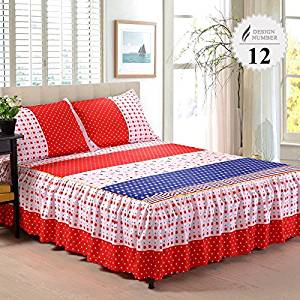 3 Piece Bed Sheet Set Bedding Sets Super King White Bed Sheet,Mattress Cover,Bedspread,Contain 1 Bed Skirt 2 Pillowcase (King size)