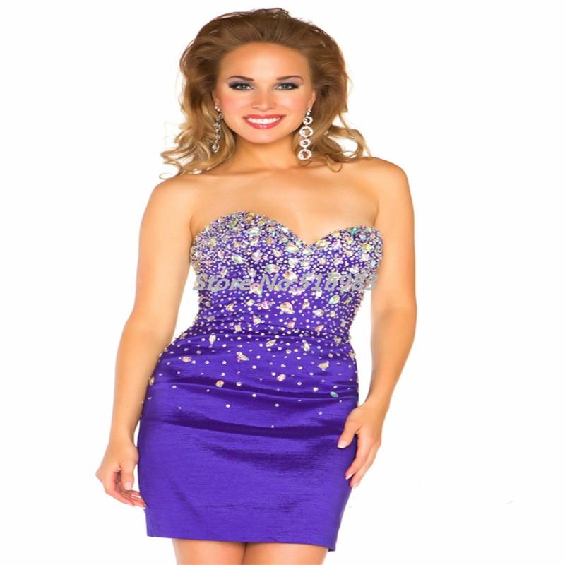 949affea6b5 Get Quotations · Custom Made 2015 Sexy Sheath Sweetheart Ruched Beading  Crystal Mini vestido de festa curto Taffeta Purple
