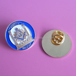 customized round shape silver masonic lapel pins for shirt, raised logo  free mason emblem badge