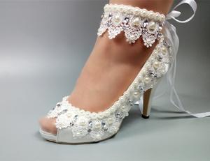 516a3da7fcef top quality white color 5cm 8cm 10cm designer peep toe women low high heel  bridal wedding