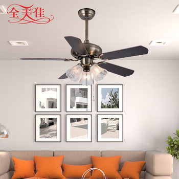 Factory price 5 solid wooden blades vintage dc motor ceiling fan with blub light