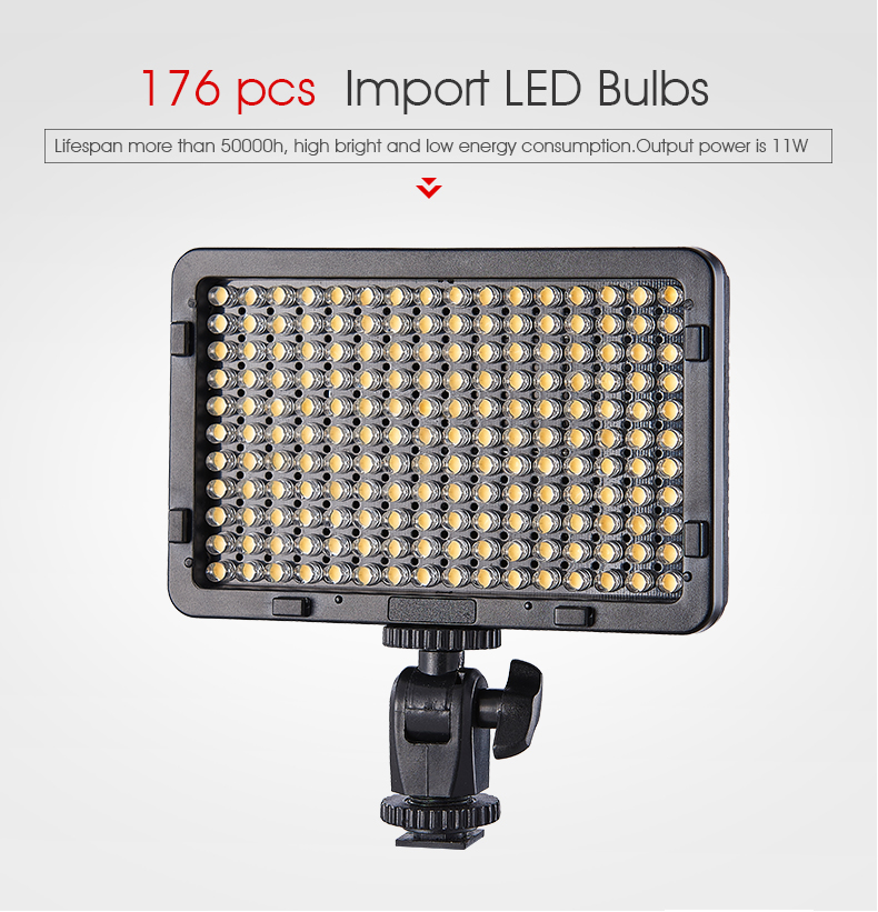 Tolifo ไฟ LED กล้องดิจิตอลพกพาได้,ไฟ LED ติดกล้องวิดีโอขนาดเล็กปลอดภัยพร้อมไฟ LED 176ดวงสำหรับการถ่ายภาพที่สมบูรณ์แบบ