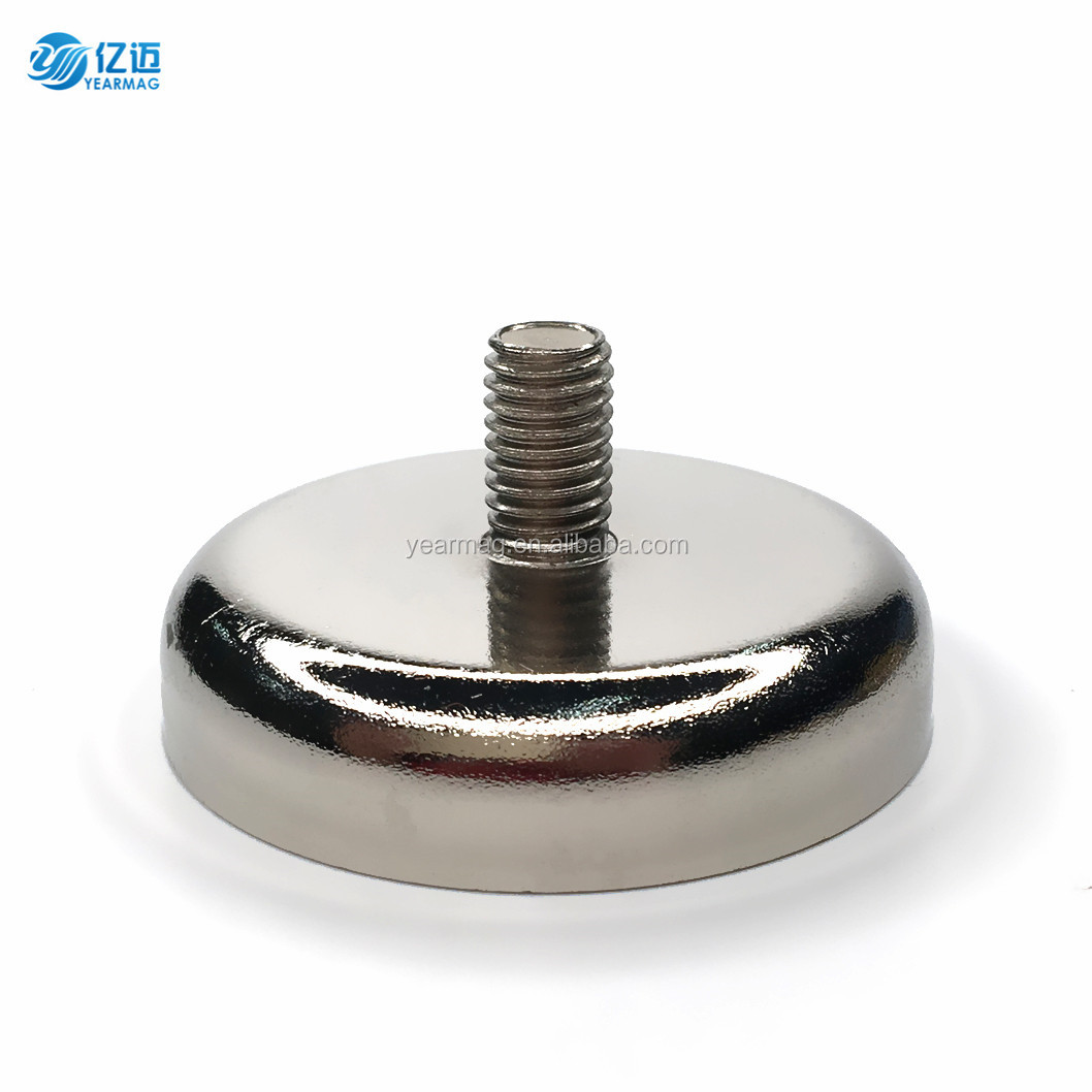Rare Earth Permanent NdFeB Magnet Composite Neodymium Pot Magnets with Threaded Stem for Super Strong Mounting Holders