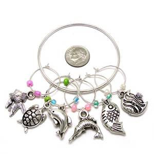 Wine Charms ~ Turtle, Dolphin, Fish Sea Animals Wine Glass Charms Set of 6 (Wine Charm 034f 20)