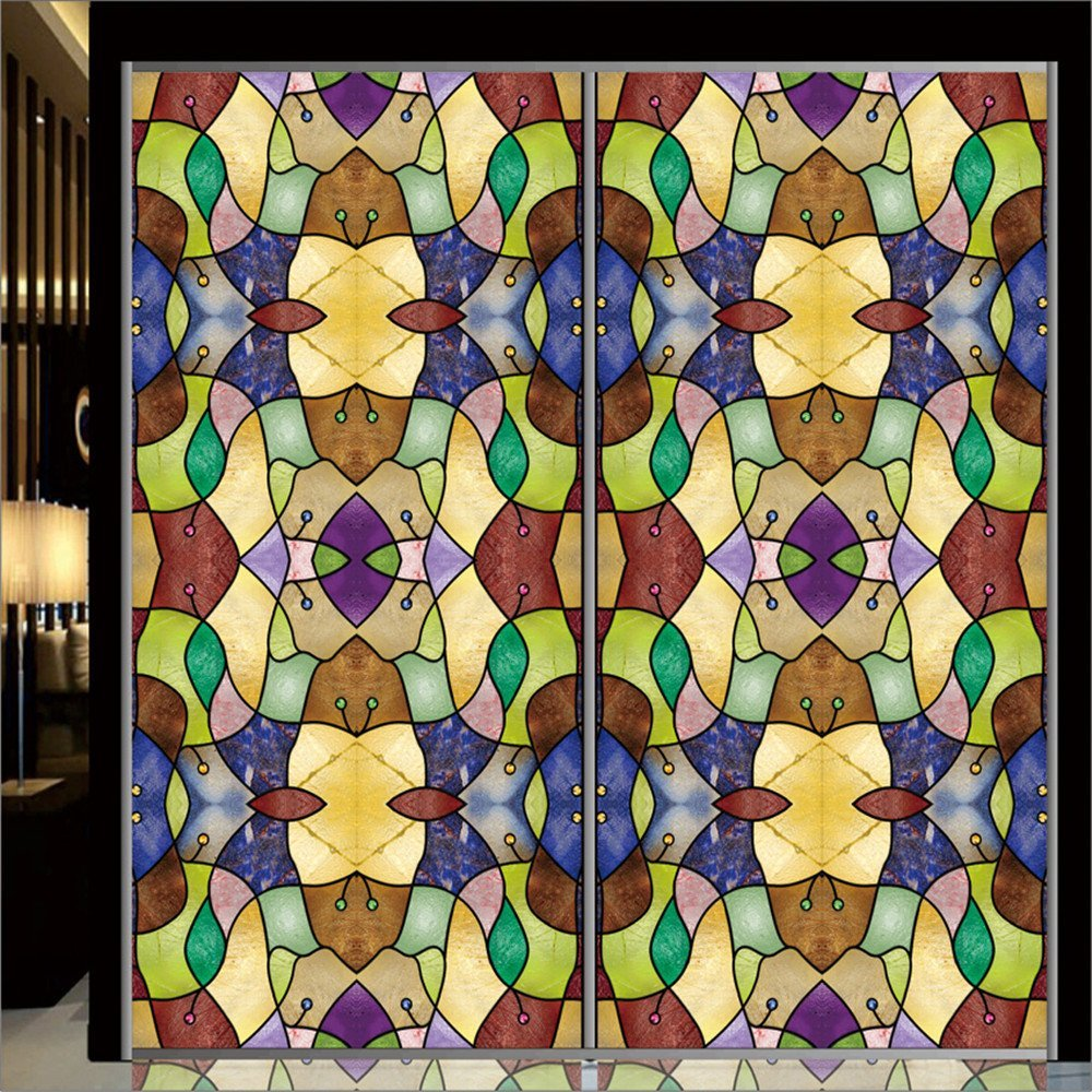 """OstepDecor Custom Translucent Non-Adhesive Frosted Stained Glass Window Films 30"""" W x 72"""" L"""
