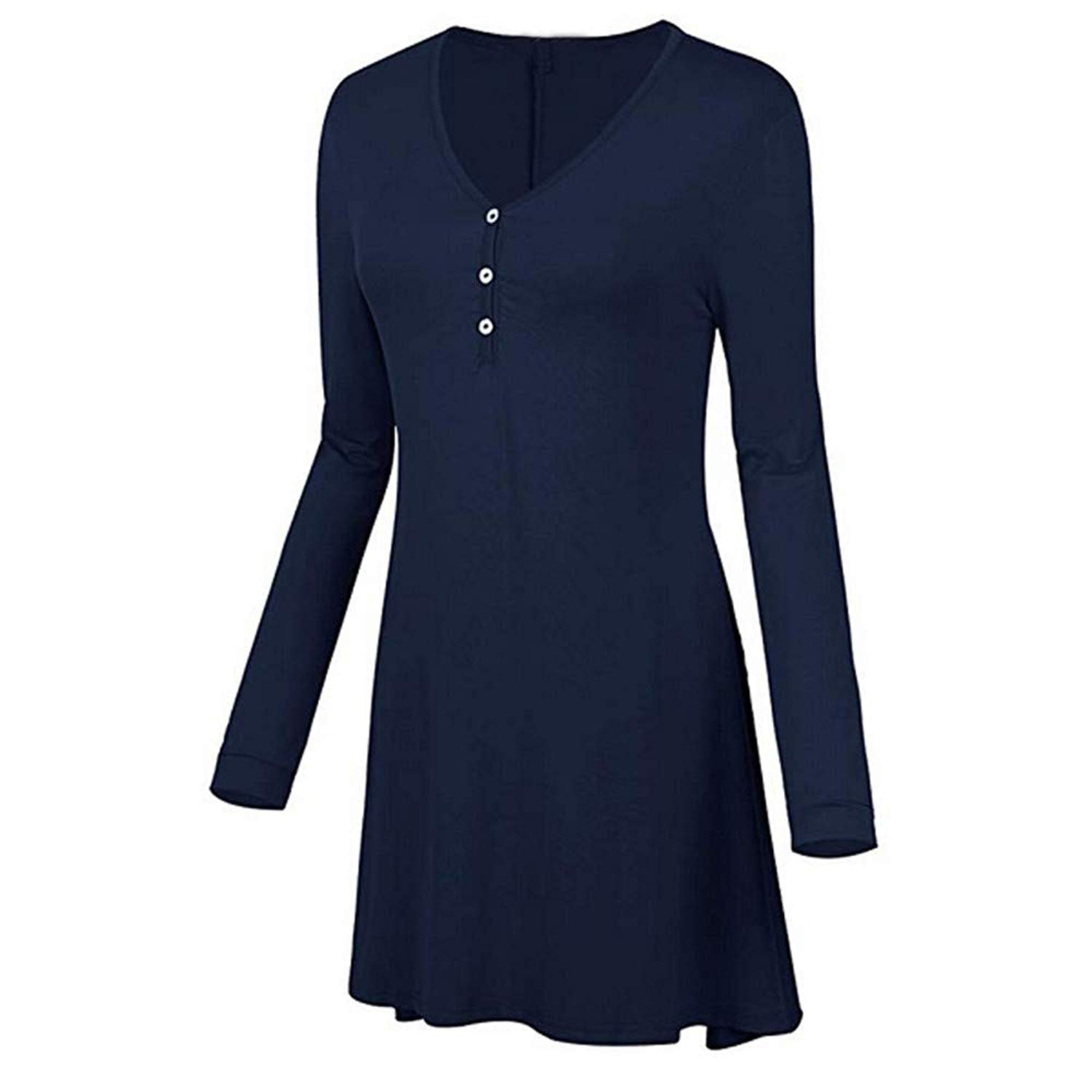 Women Tops Clearance Sale! Women's Shirt Plus Size Casual Solid Long Sleeve Tunic Botton V-Neck Blouse Top