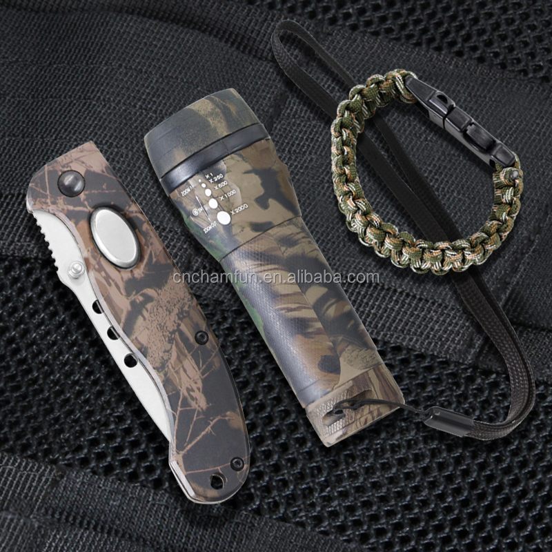3pcs emergency camping folding knife and LED emergency torch plus survival bracelet hiking gear