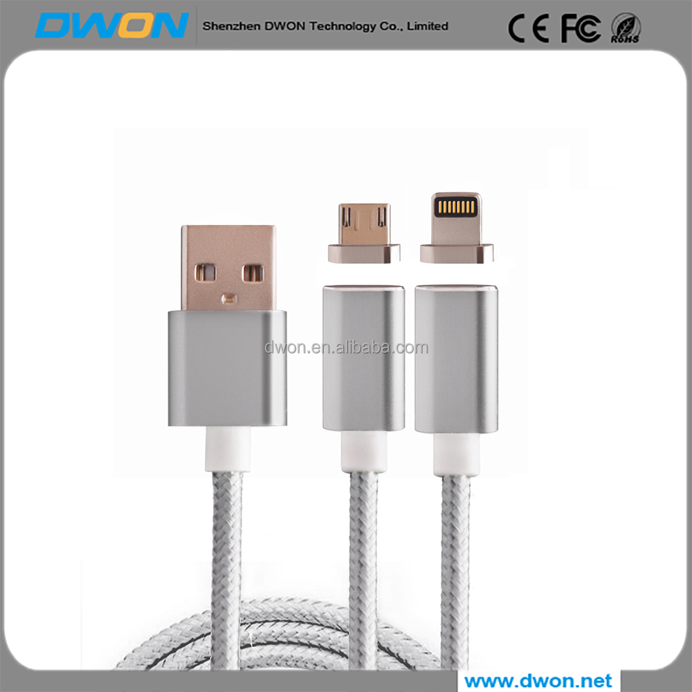 Magnetic USB Charging and Data Transmission Cable Type C Nylon Braided Sync Cord with High Speed Data Transfer for iOS