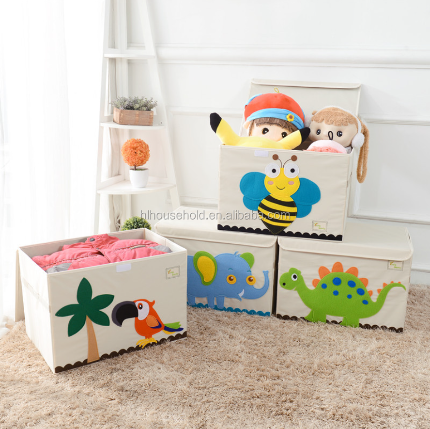 3D Embroidery Cute Fabric Toy Organizer Storage Box with Strong Handle