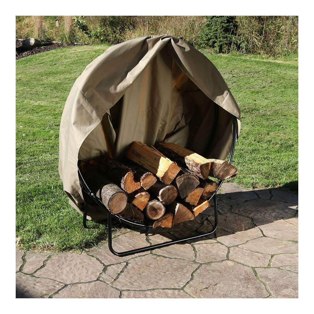 Outdoor Black Steel Firewood Log Hoop Rack with Khaki Cover - 40-Inch