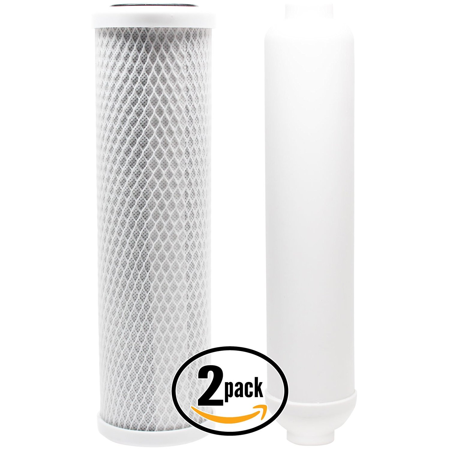 2-Pack Denali Pure Universal 10 inch Carbon Block, Inline Filter - Compatible with Crystal Quest CQE-RO-00105, Crystal Quest CQE-RO-00106, Crystal Quest CQE-RO-00103, Crystal Quest CQE-RO-00107