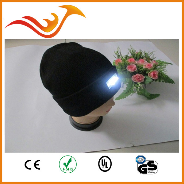 4 LED hard hat with led light in winter black suitable outdoors ,camping