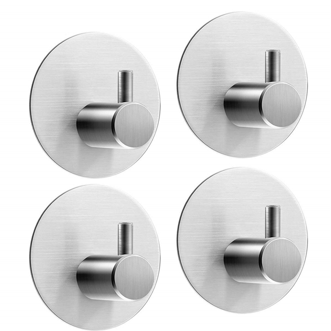 8kg Round Self Adhesive Hooks, Hat Towel Robe Coat Stainless Steel Door Command Hooks Hanger