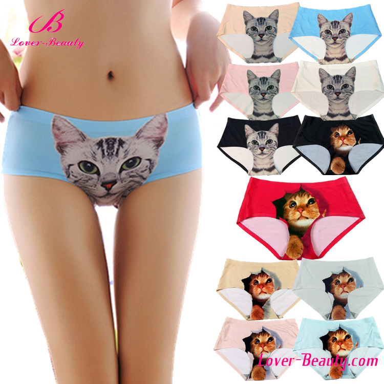 Funny animal 3d seamless adult size cute women pussy cat panties