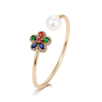 51738 xuping jewelry  fashion pearl  cuff bangle for women with colorful  stone