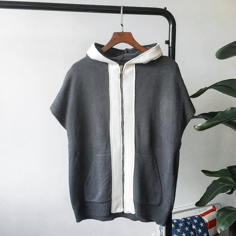 oem custom knit cardigan sweater hooded loose fashion zip cardigans for men